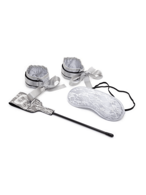 50 shades - bondage kit - silver mask- eye mask - crop - hand cuffs - restraints