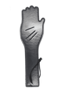 hand paddle black, leather hand paddle, black hand paddle, hand spanker, leather hand spanker, black hand spanker, black leather hand spanker