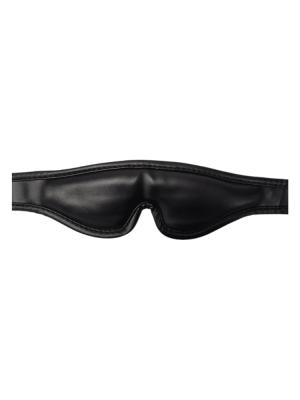 black - leather - Velcro - Blindfold - Eyemask - black eyemask - black blindfold - leather blindfold - leather eye mask - Velcro mask