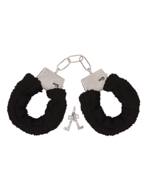 black fluffy hand cuffs