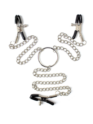 Nipple clamps with genital clamp