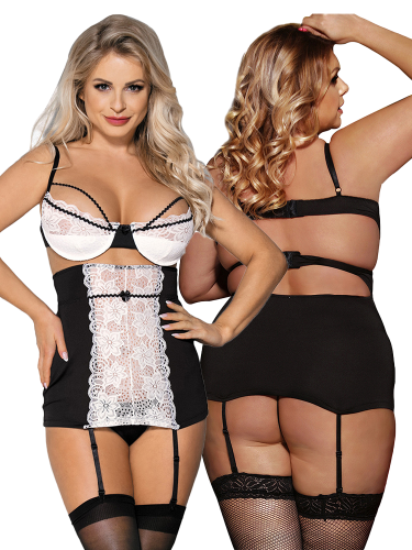 B;ACK-AND-WHITE-LACE-CHEMISE